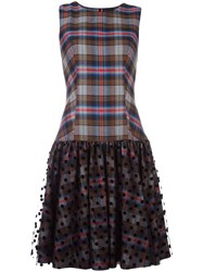 Paskal Plaid Flared Dress Black