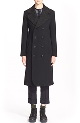 Julien David Embroidered Collar Wool Jersey Coat Black