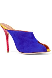 Malone Souliers Dawn Patent Leather Trimmed Suede And Snake Mules Blue