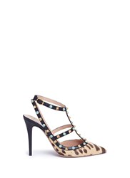 Valentino 'Rockstud Rolling' Cabochon Leopard Print Calfhair Pumps Animal Print Multi Colour
