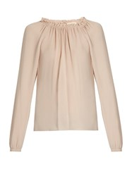 Rebecca Taylor Ruffled Neckline Silk Blouse Light Pink