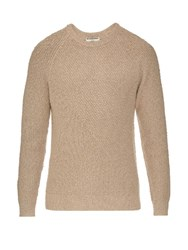Balenciaga Textured Cotton Blend Sweater Beige