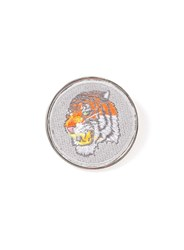 Topman Silver Look Fabric Tiger Brooch Green