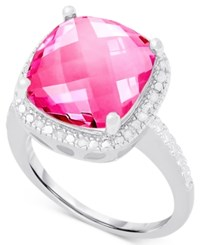 Victoria Townsend Pink Quartz 6 C.T. T.W. And Diamond 1 10 C.T. T.W. Ring In Sterling Silver