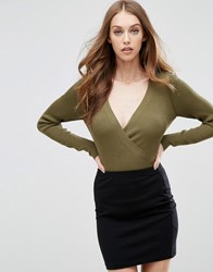 Asos Knitted Body In Rib With Wrap Front Khaki Green