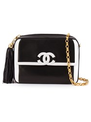Chanel Vintage Contrast Logo Crossbody Bag Black
