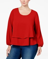 Ing Plus Size Tiered Top Tomato Red