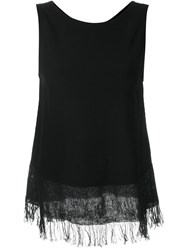 Theory Frayed Tank Top Black