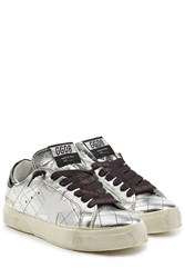 Golden Goose May Metallic Leather Sneakers Silver