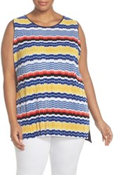 Plus Size Women's Vince Camuto Jagged Stripe Tank