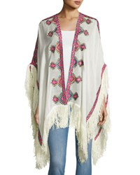 Figue Embroidered Wool Shawl Ivory
