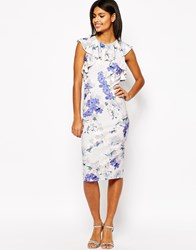 Asos Ruffle Pencil Dress In Occasion Floral Print Multi