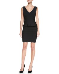 Herve Leger Essential V Neck Peplum Dress Black