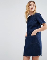 Native Youth Denim Raw Edge Dress Indigo Blue