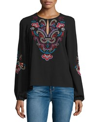 Nanette Lepore Long Sleeve Floral Embroidered Top Black Size 6