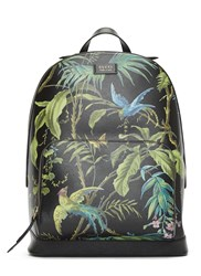 Gucci Zaino Botanical Printed Leather Backpack Black