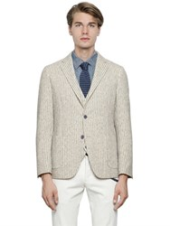 Lardini Striped Cotton Canvas Blend Jacket