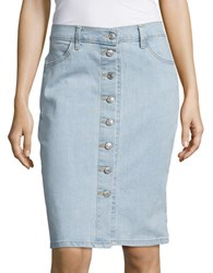 Levi's Button Down Denim Skirt Blue Ivory