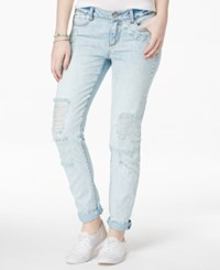 Rewash Juniors' Ripped Lace Trim Water Tint Light Wash Cuffed Skinny Jeans