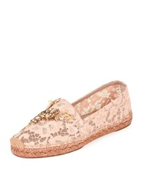 Dolce And Gabbana Jeweled Floral Lace Espadrille Nude