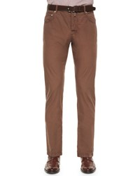 Kiton Washed Twill Five Pocket Pants Light Brown
