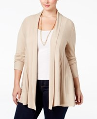 Ny Collection Plus Size Open Front Textured Cardigan Sahara Heather