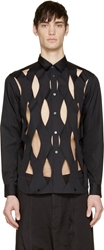 Comme Des Garcons Black Lattice Cut Out Shirt