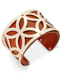 Charter Club Gold Tone Filigree Leather Look Open Cuff Bracelet Only At Macy's Brown