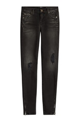 7 For All Mankind Seven For All Mankind The Skinny Crop Distressed Jeans Black