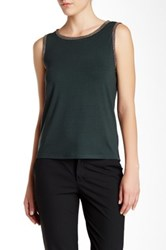 Anne Klein Embellished Tank Green