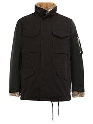 08Sircus Fur Lined Field Jacket Black