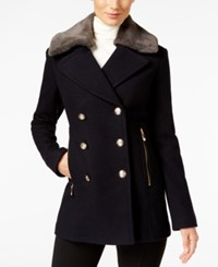 Vince Camuto Faux Fur Collar Double Breasted Peacoat Navy