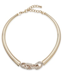 Inc International Concepts Gold Tone Crystal Link Collar Necklace