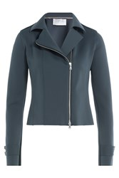 Harris Wharf Fabric Biker Jacket Blue