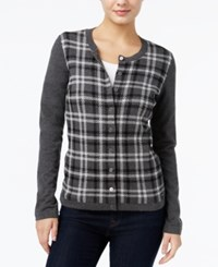 Tommy Hilfiger Marilyn Sparkle Plaid Cardigan Only At Macy's Charcoal Heather Multi