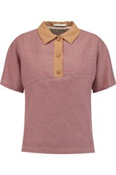 Carven Tweed Polo Shirt Red