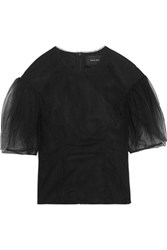 Simone Rocha Ruched Tulle Top Black