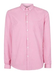 Topman Pink And White Gingham Button Down Dress Shirt