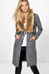 Boohoo Faux Fur Shawl Collar Chuck On Coat Grey
