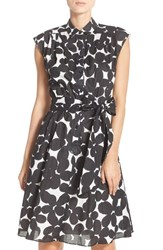 Women's Maggy London Print Cotton Shirtdress Black White