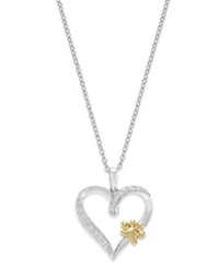 Macy's Aspca Tender Voices Sterling Silver And 10K Gold Plated Necklace Diamond Accent Paw And Heart Pendant
