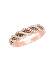 Le Vian Chocolatier Vanilla Diamond Chocolate Diamond And 14K Rose Gold Ring 0.57 Tcw