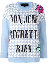 Michaela Buerger Woven Houndstooth Quote Sweatshirt Blue