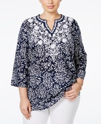 Charter Club Plus Size Floral Print Embroidered Tunic Only At Macy's Intrepid Blue Combo