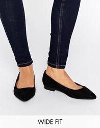 Asos Lacey Wide Fit Pointed Ballet Flats Black