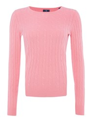Gant Stretch Wool Cable Crew Neck Jumper Pink
