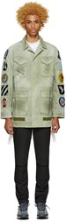 Off White Green Canvas Patches Jacket