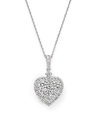Bloomingdale's Diamond Heart Pendant Necklace In 14K White Gold 1.50 Ct. T.W.