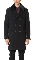 The Kooples Double Breasted Coat Navy