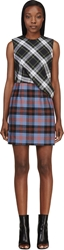 Mcq By Alexander Mcqueen Green And Red Plaid Mix Drape Top Dress